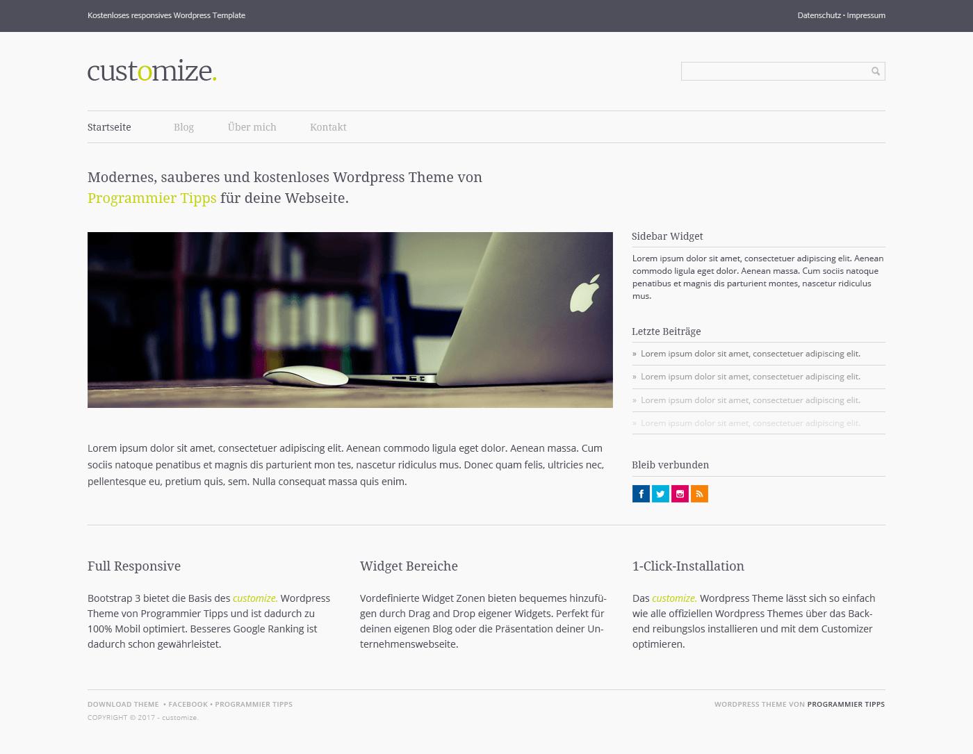 Ein kostenloses Wordpress Template von Programmier Tipps.
