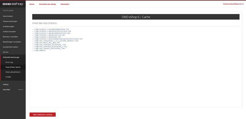 OXID eShop tmp leeren