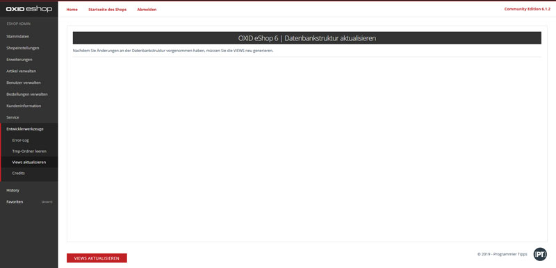 OXID eShop views updaten
